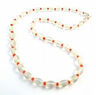 Vintage Translucent Glass And Red Bead Necklace.